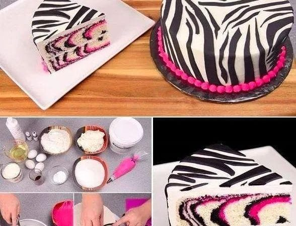 Růžový zebří dortík